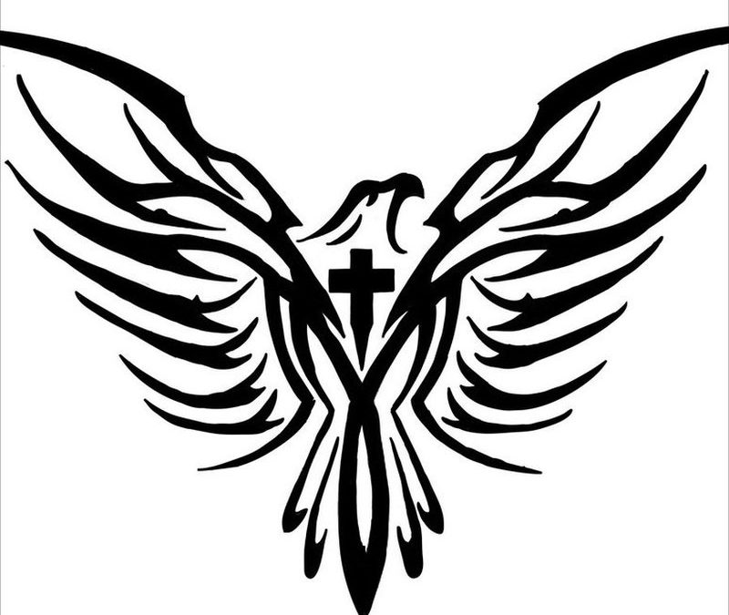 Eagle cross tattoo design