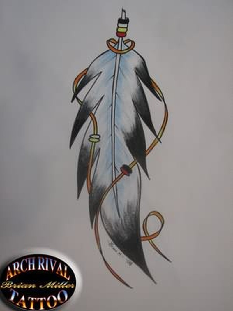 Eagle feather tattoo design