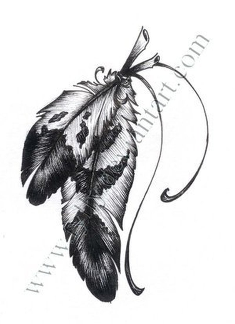 Eagle feather tattoo stencil