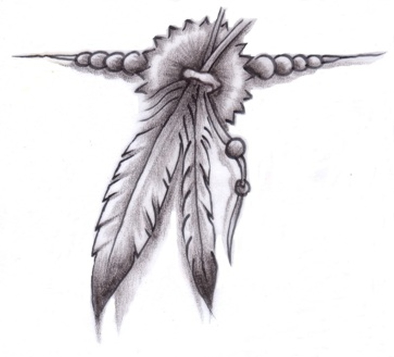 Eagle feathers tattoo design