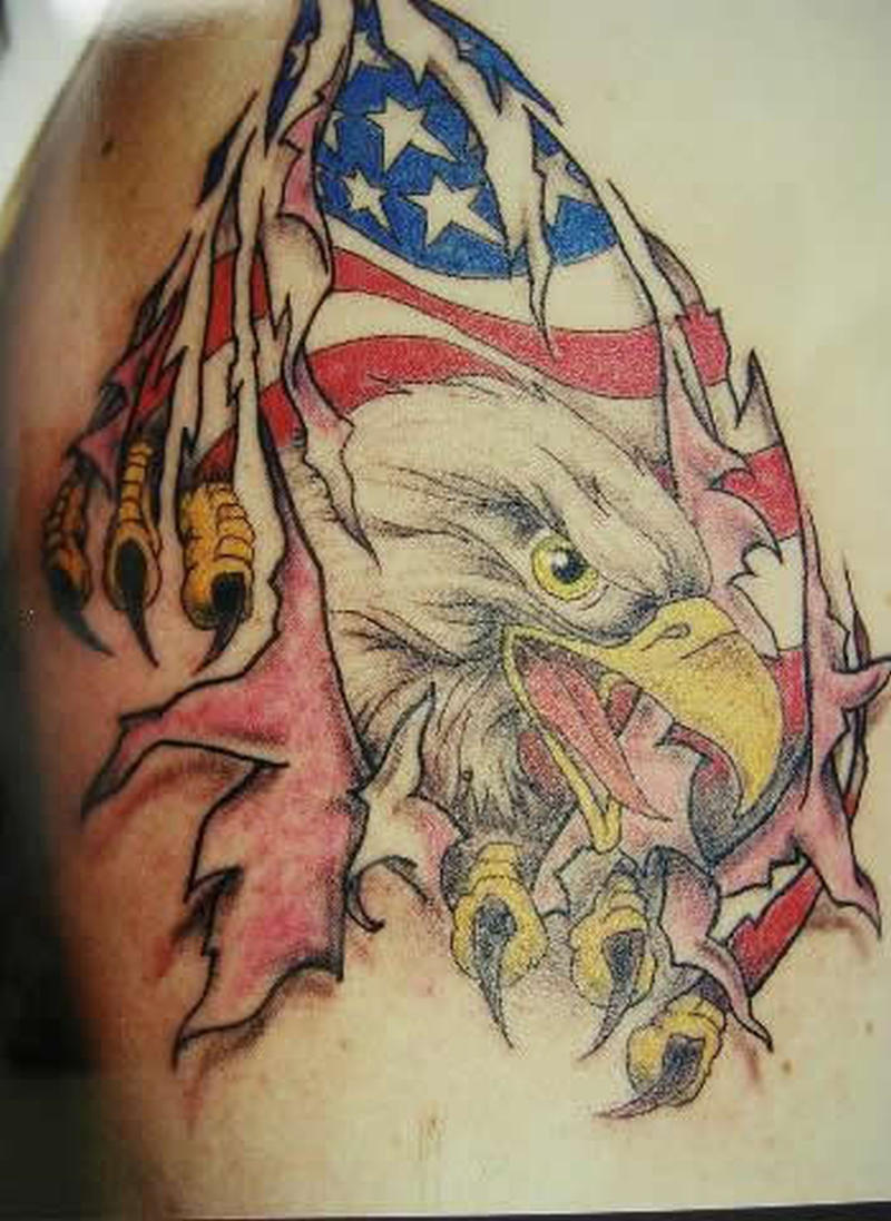 eagle flag ripped skin tattoo design tattoos book. Black Bedroom Furniture Sets. Home Design Ideas
