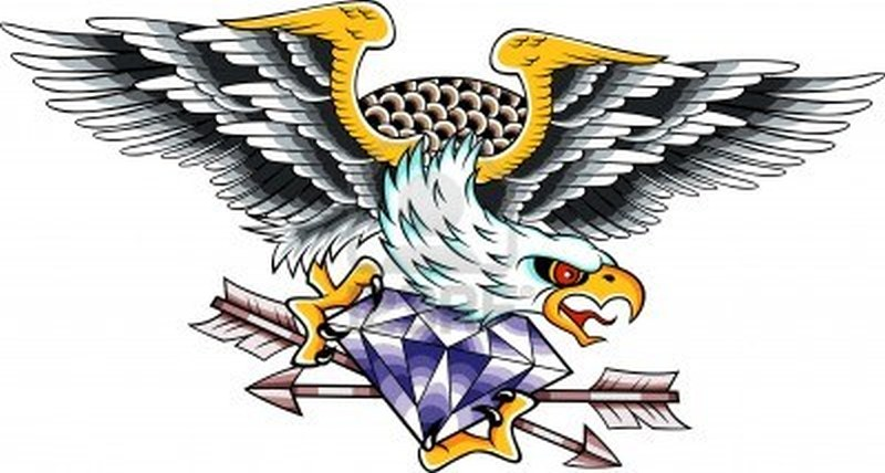 Eagle n diamond tattoo design