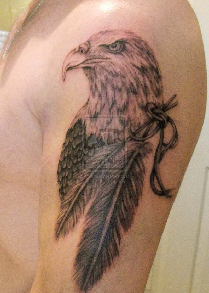 Eagle n feather tattoo on upper arm