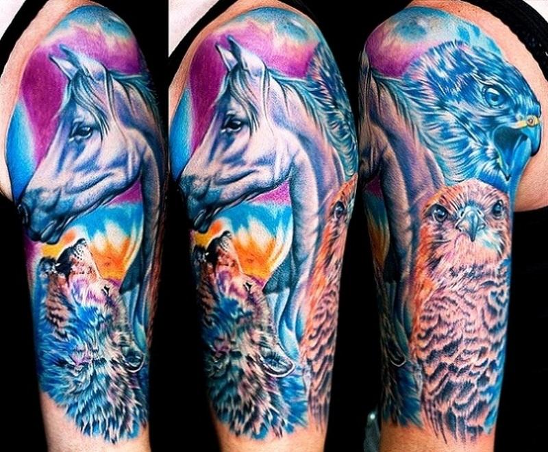 Eagle n horse head tattoo on half sleeve
