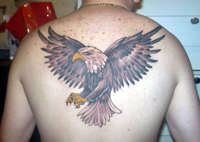 Eagle tattoo on upper back 2