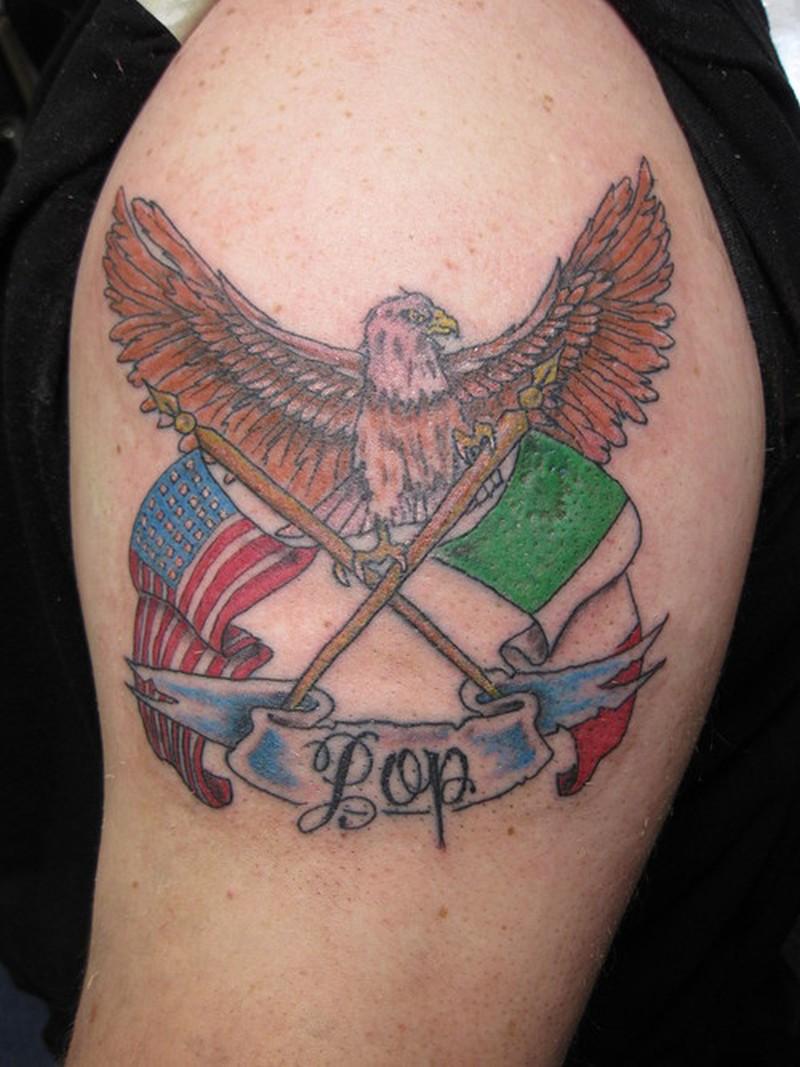 Eagle with flags tattoo design