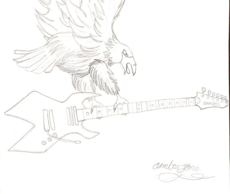 Eagle with guitar tattoo design