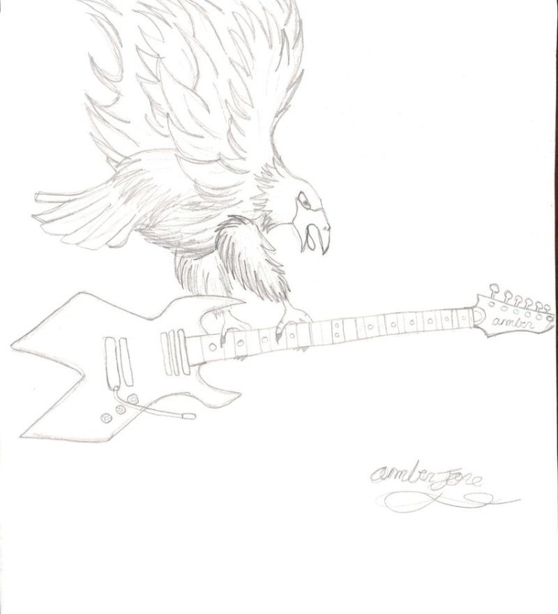 Eagle with guitar tattoo design