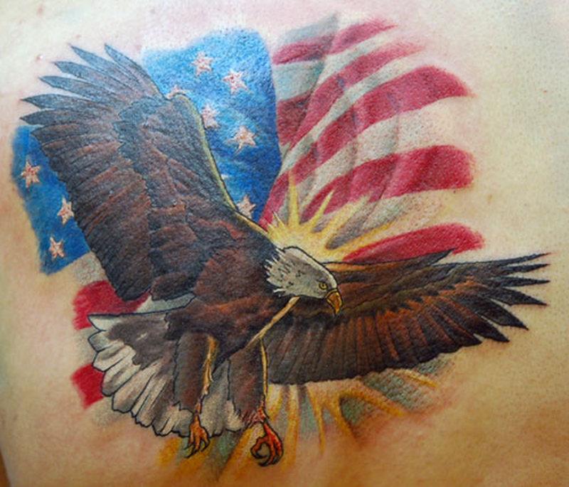 Eagle with us flag tattoo design