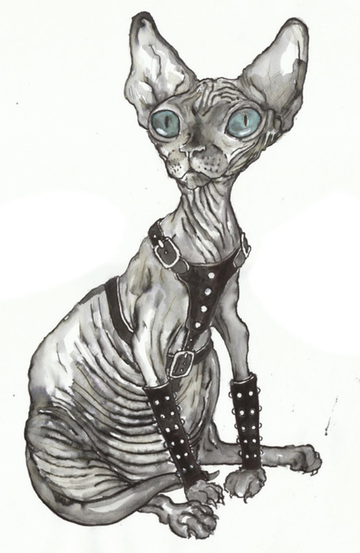 Egyptian cat tattoo stencil