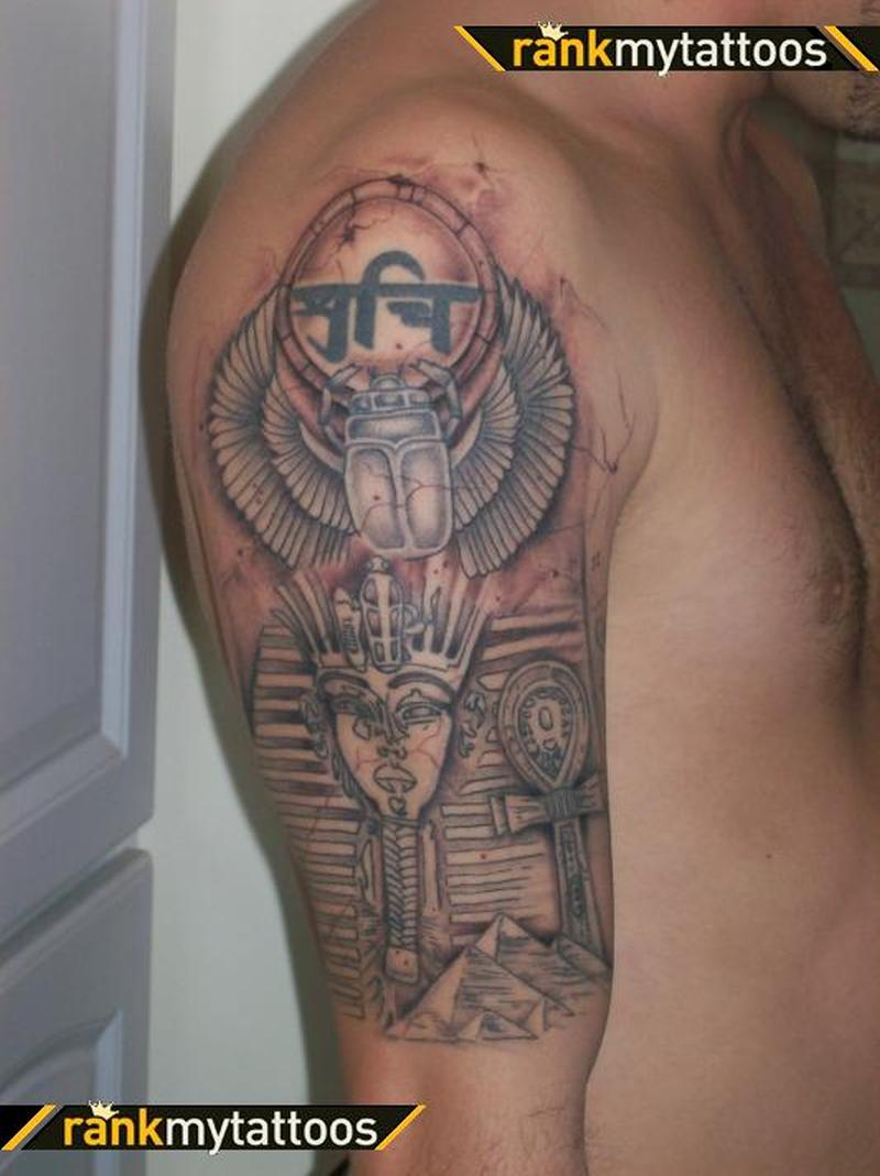 Egyptian on half sleeve tattoo