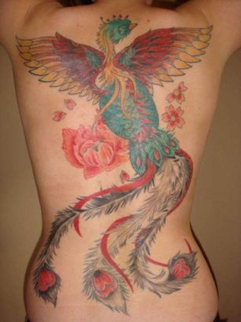 Egyptian phoenix tattoo on back body
