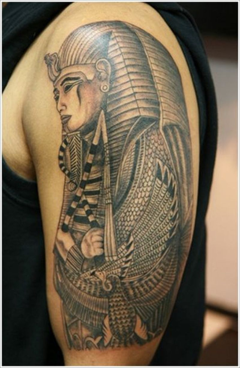 Egyptian tattoo on a shoulder