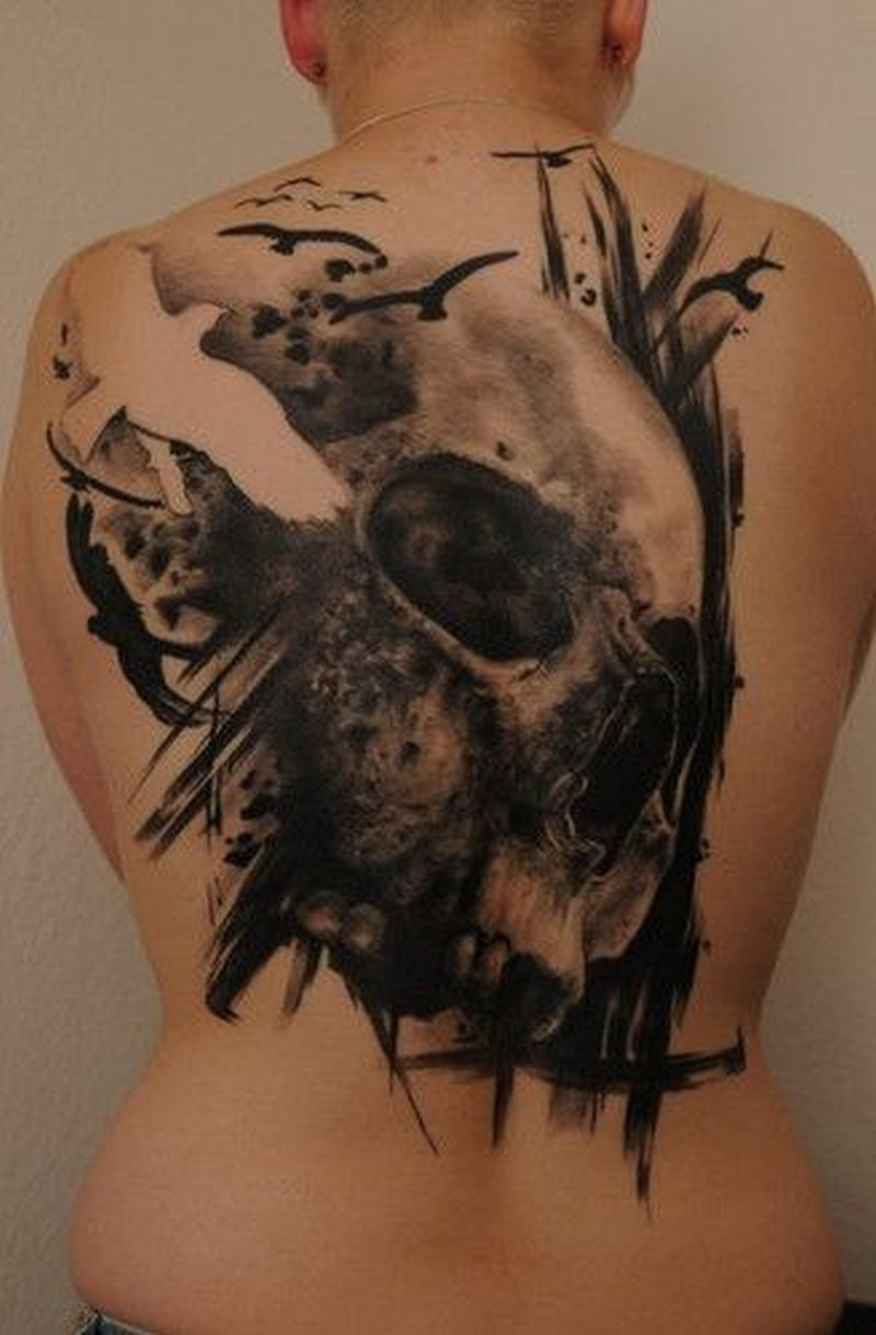 elegant black grey skull with white bird tattoo on back tattoos book. Black Bedroom Furniture Sets. Home Design Ideas