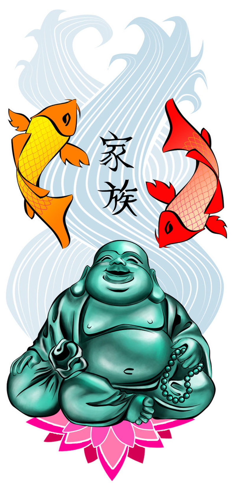 Elegant buddha fishes tattoo design