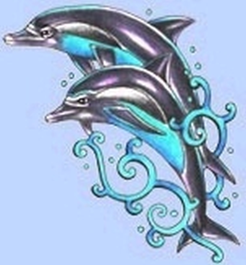 Elegant dolphins tattoo design