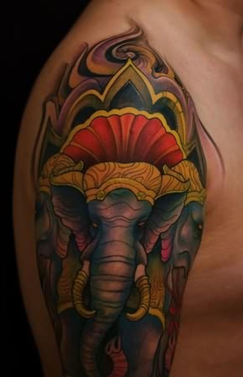 186637e178e88 Elegant elephant tattoo design on shoulder - Tattoos Book - 65.000 ...
