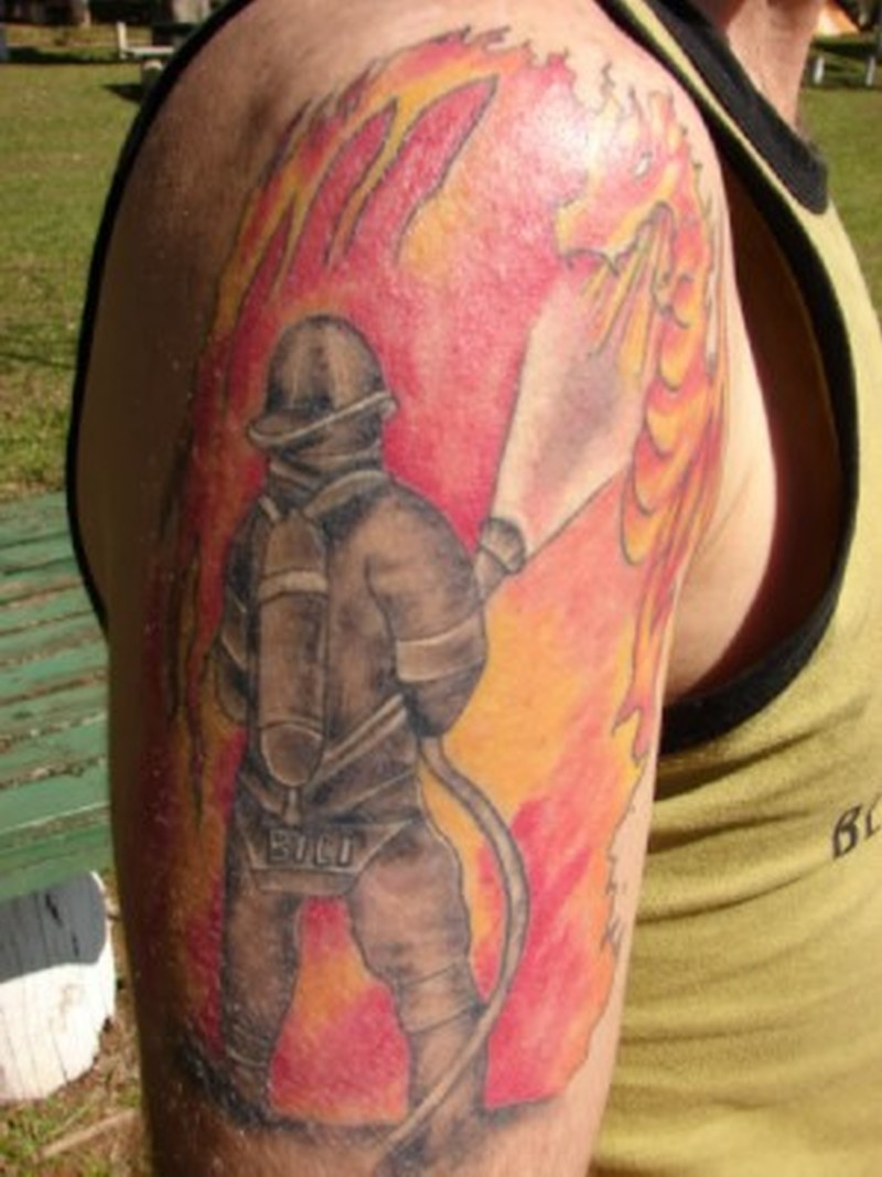 Elegant firefighter tattoo on arm