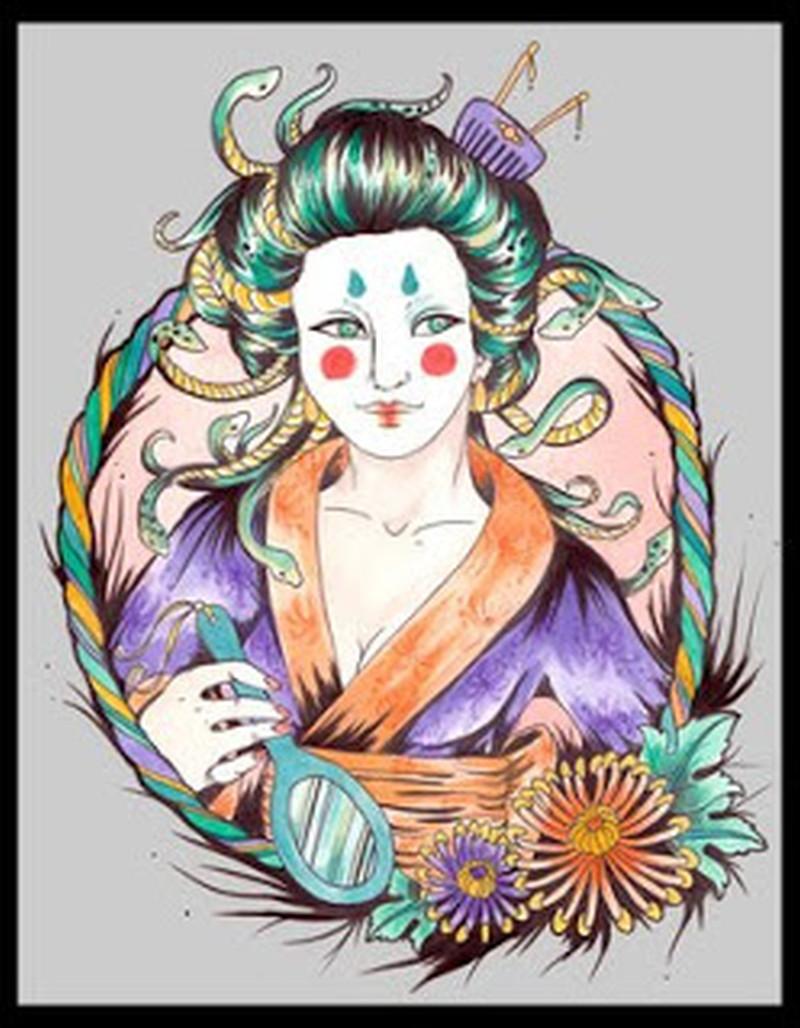 Elegant japanese geisha tattoo design