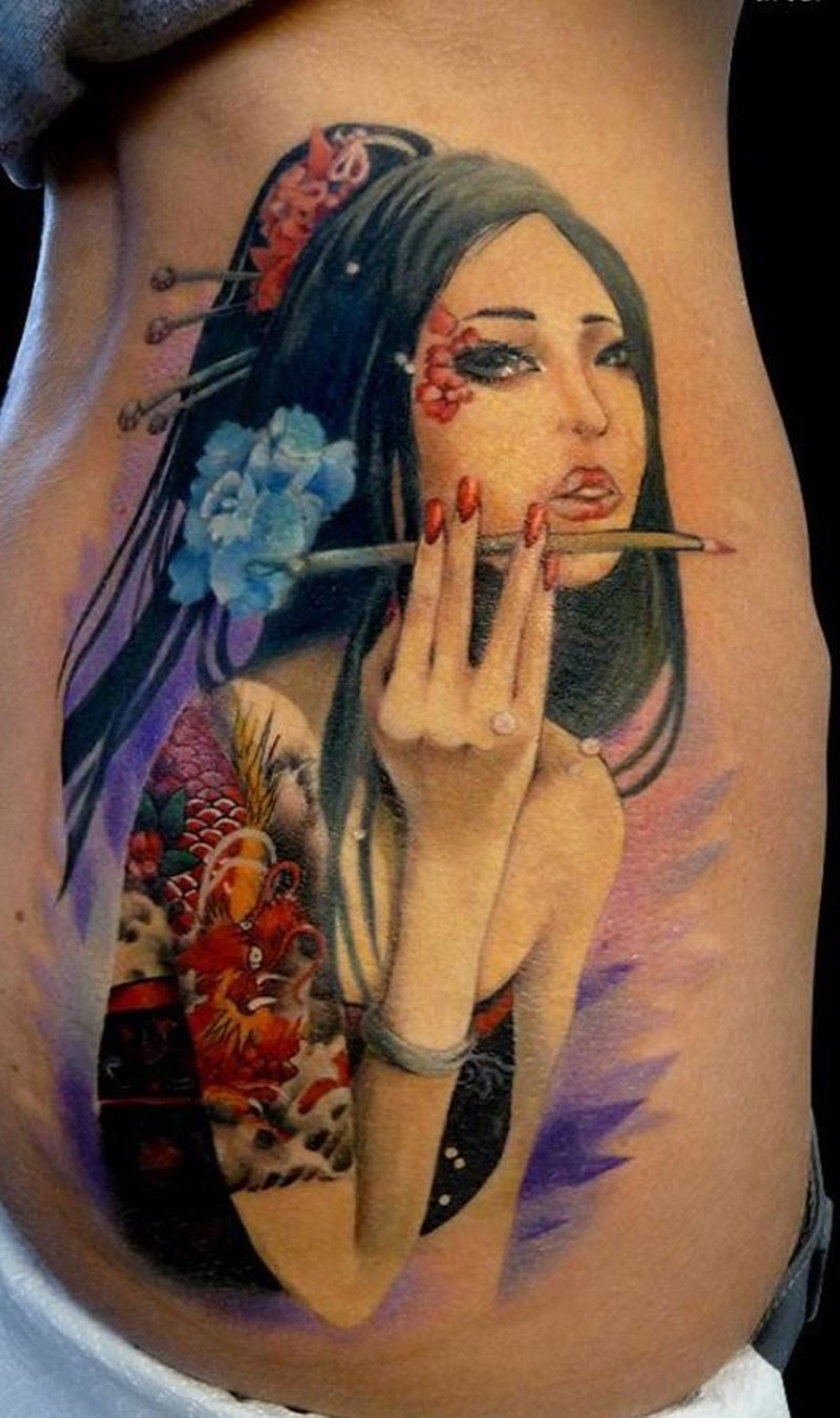 Geisha tattoo elegant geisha tattoo picture - Elegant Wonderful Geisha Tattoo In Color 2