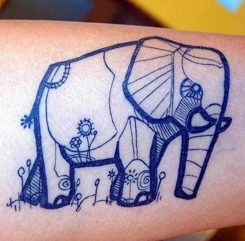 Elephant ball tattoo design