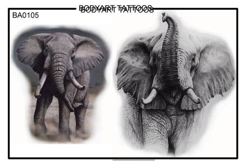 Elephant bodyart tattoo design
