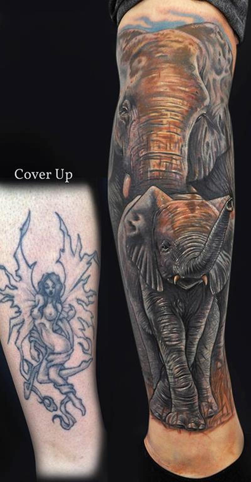 Elephant cover up tattoo design