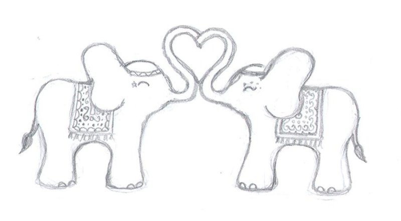 Elephant love tattoo drawing