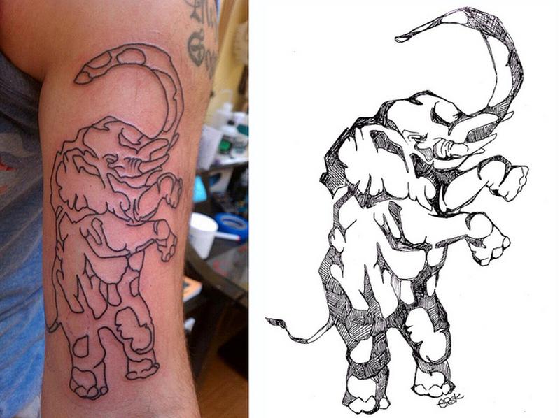 Elephant outline tattoo design