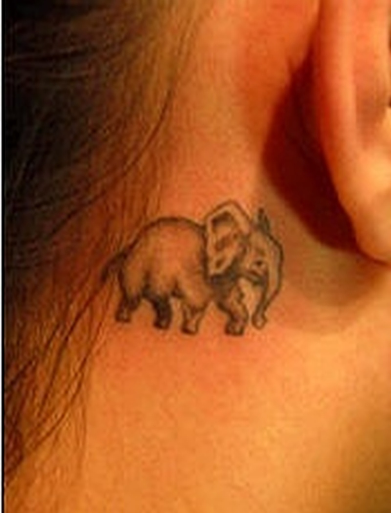 Elephant tattoo below ear