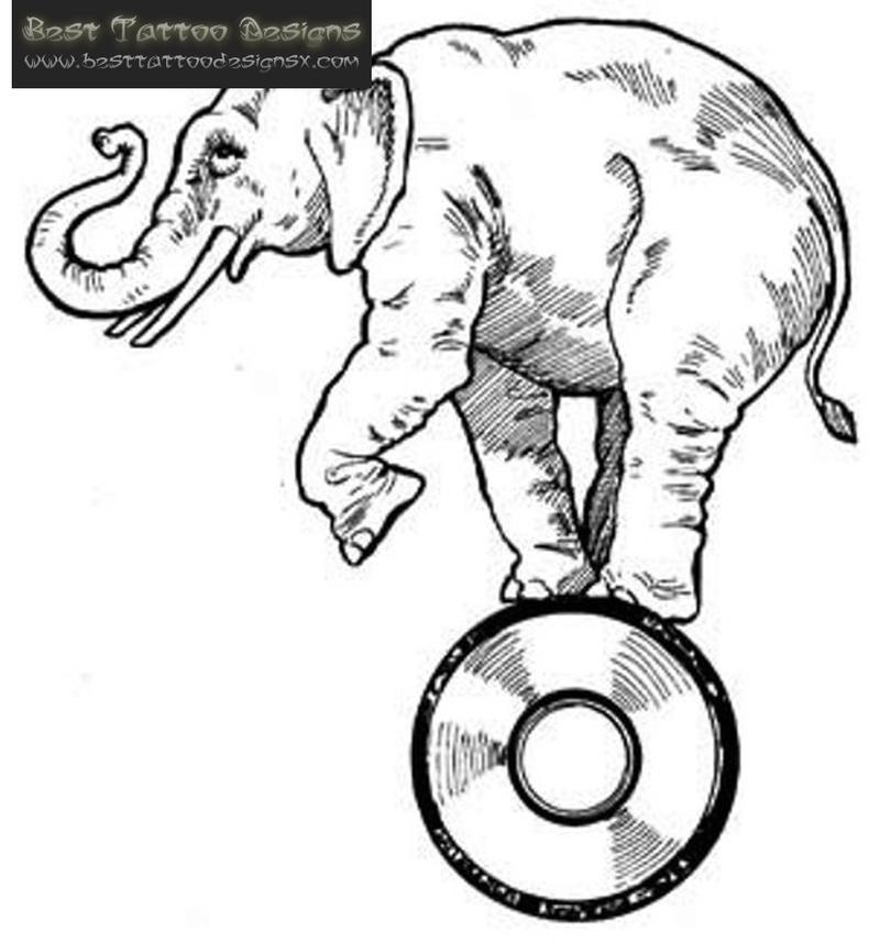 Elephant tattoo sample 2