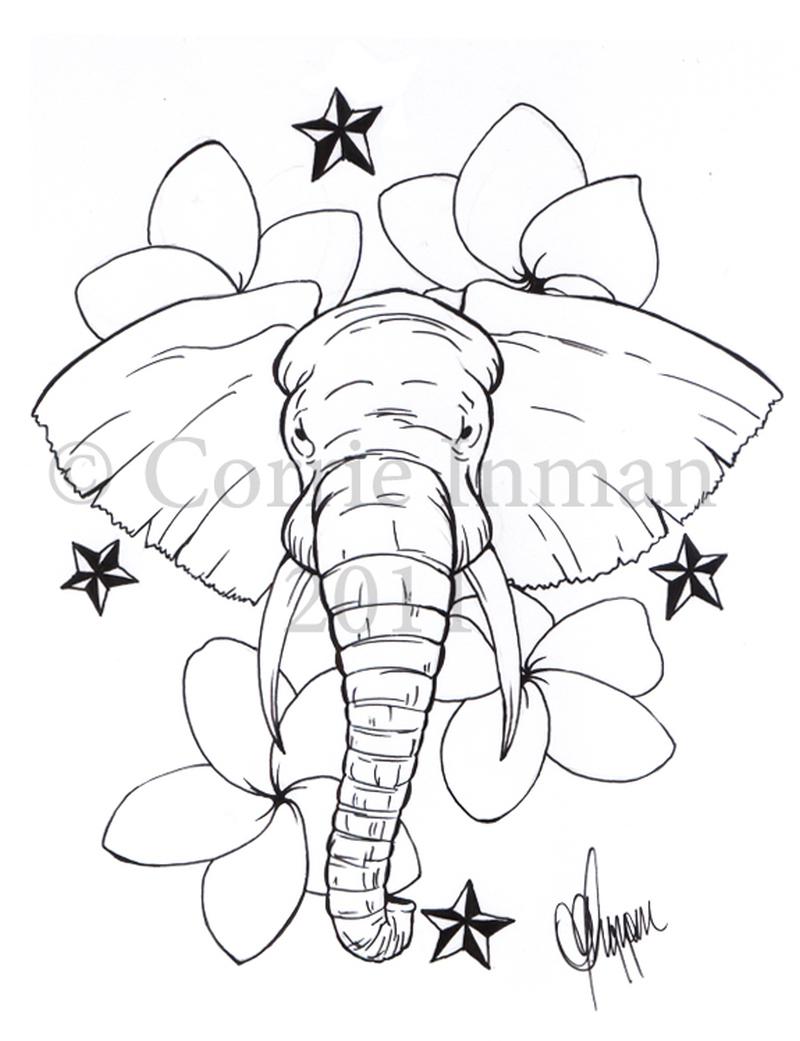 Elephant with nautical stars tattoo design