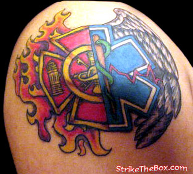 Ems firefighter tattoo for shoulder