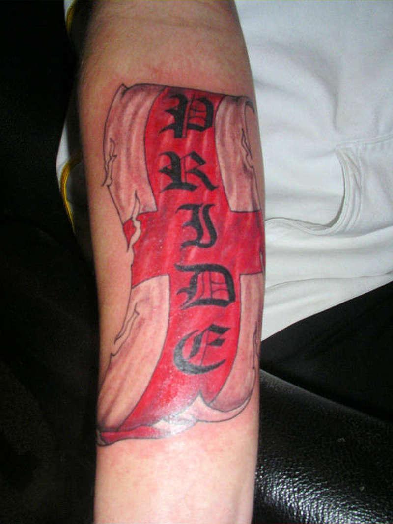 England flag tattoo on arm