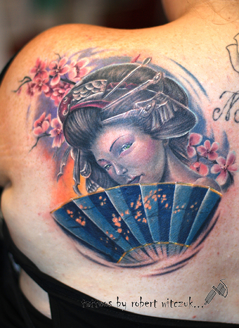 Enjoy geisha tattoo design
