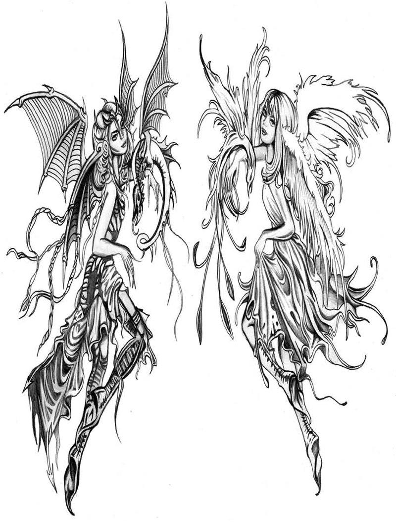 Ангел и бес эскиз тату