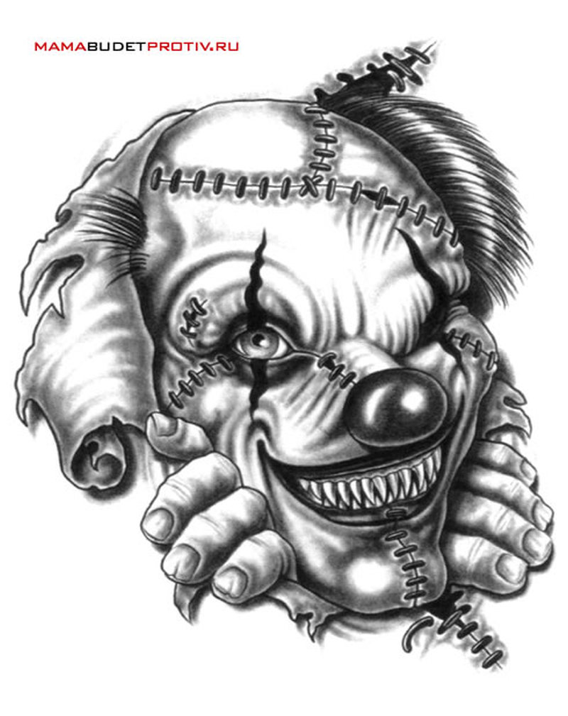 evil clown tattoo sketch tattoos book. Black Bedroom Furniture Sets. Home Design Ideas