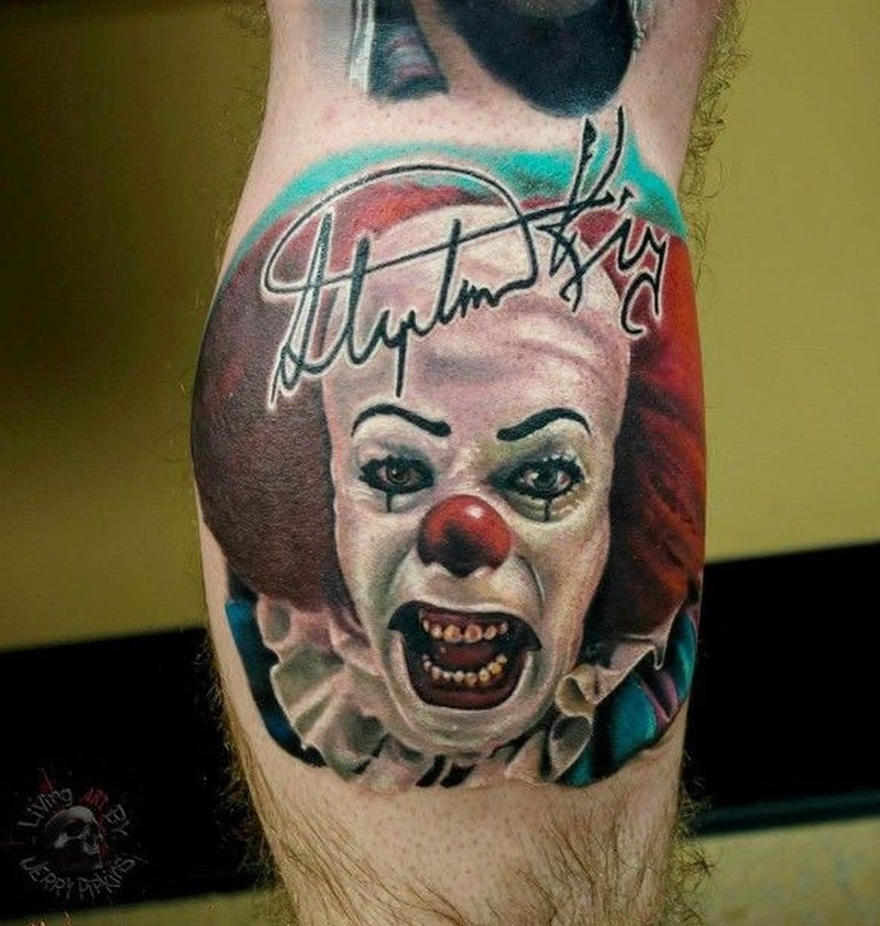 Evil clown with autographed tattoo on leg by Jerry Pipkins