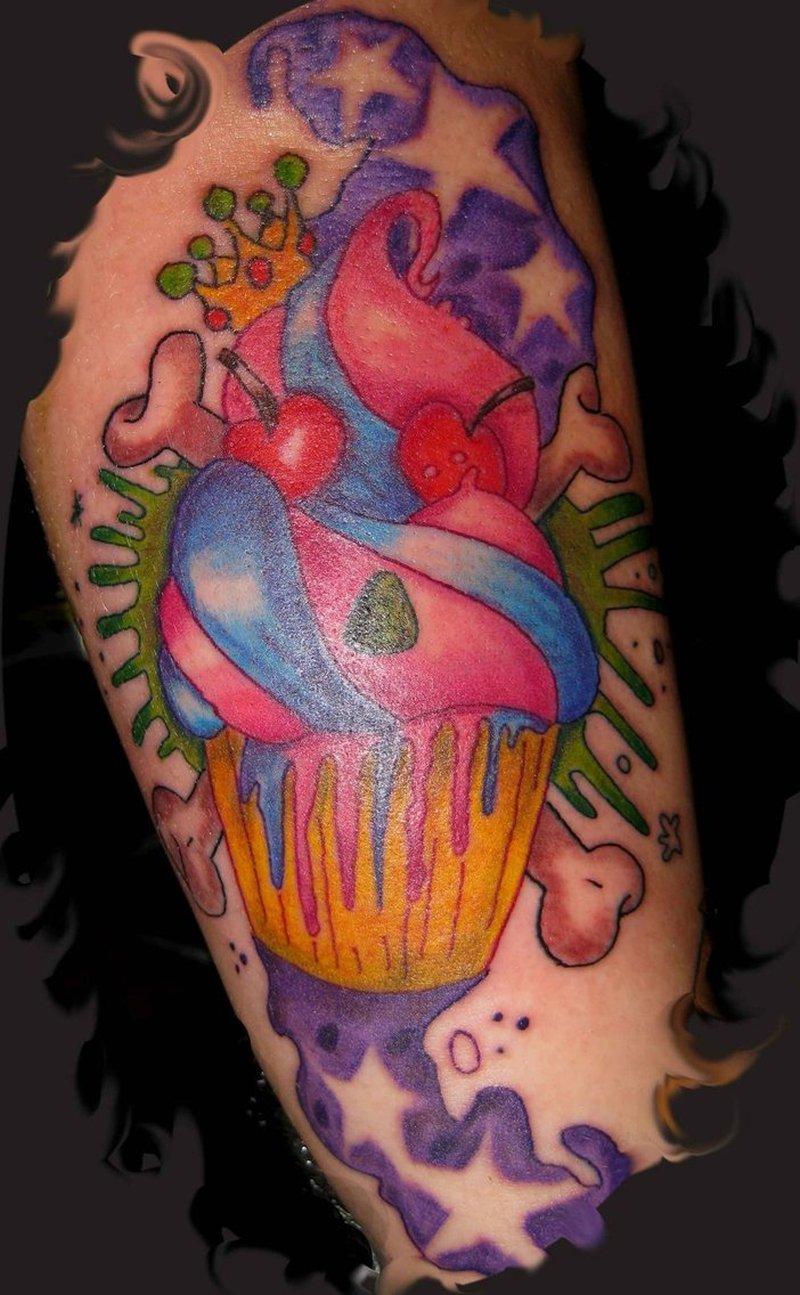 Evil cup cake tattoo design