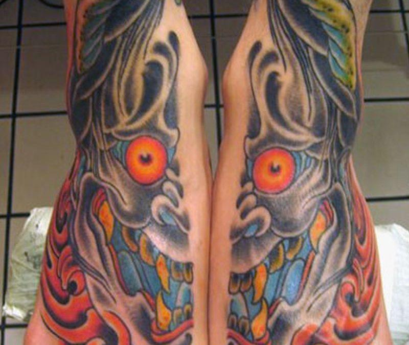 Evil feet tattoo design