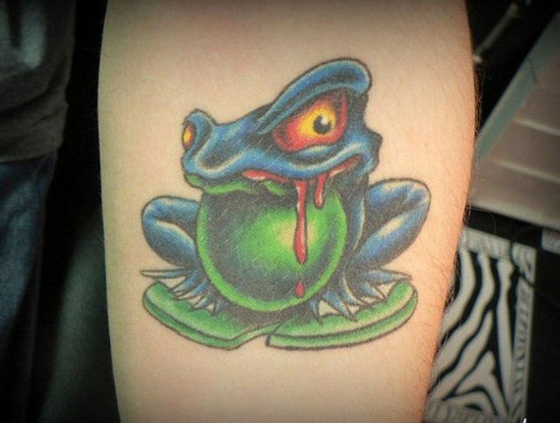 Evil frog tattoo