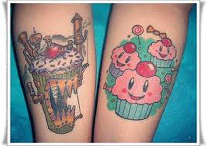 Evil good cup cake tattoo designs