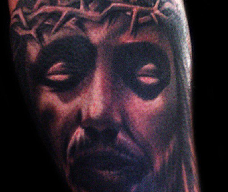 Evil jesus tattoo design