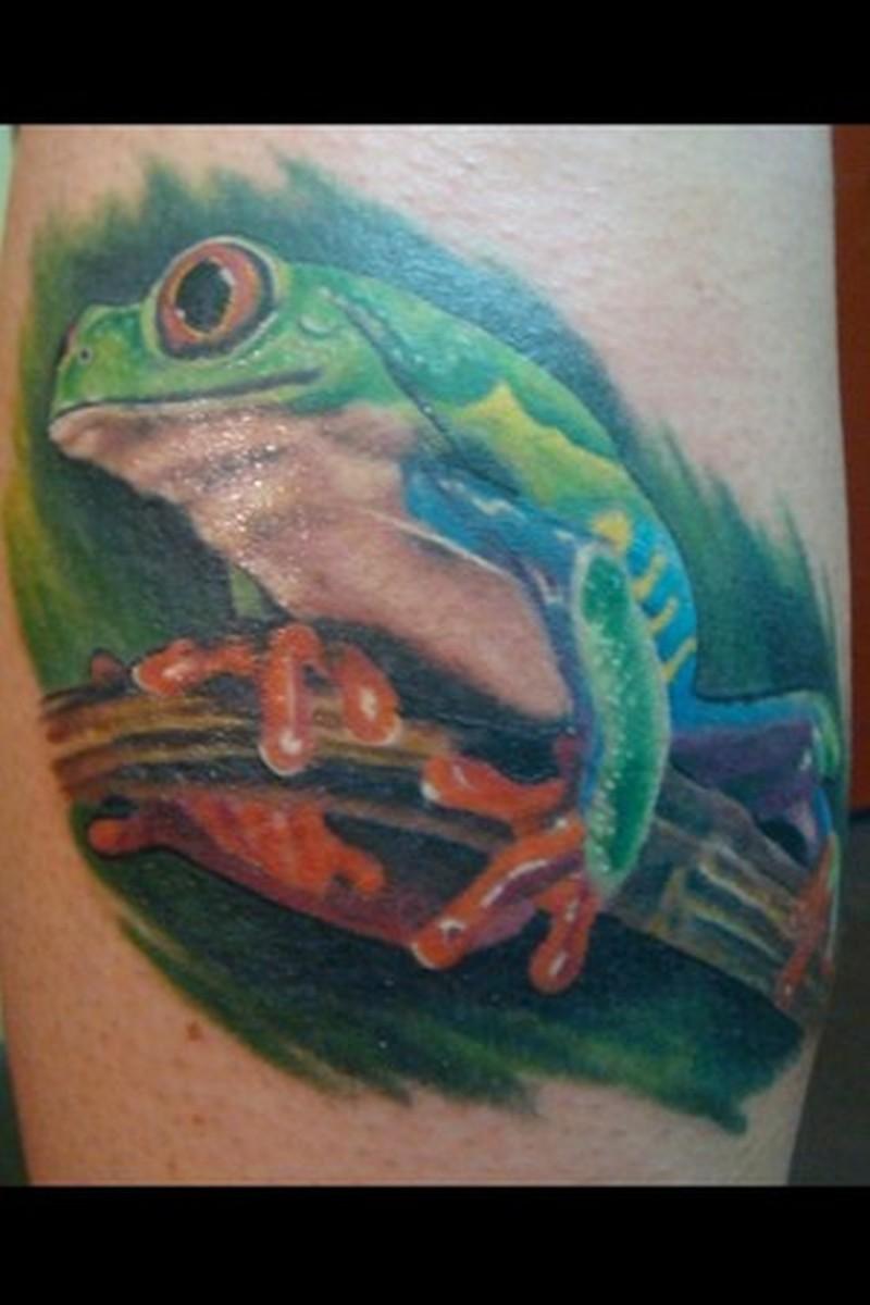 Excellent frog tattoo design