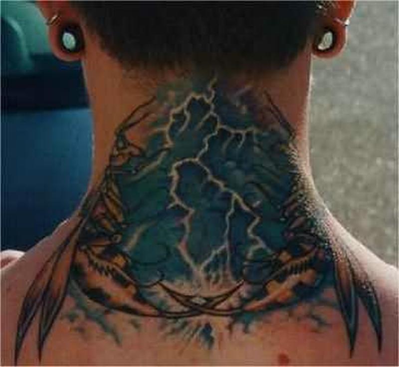 Extreme tattoo on neck