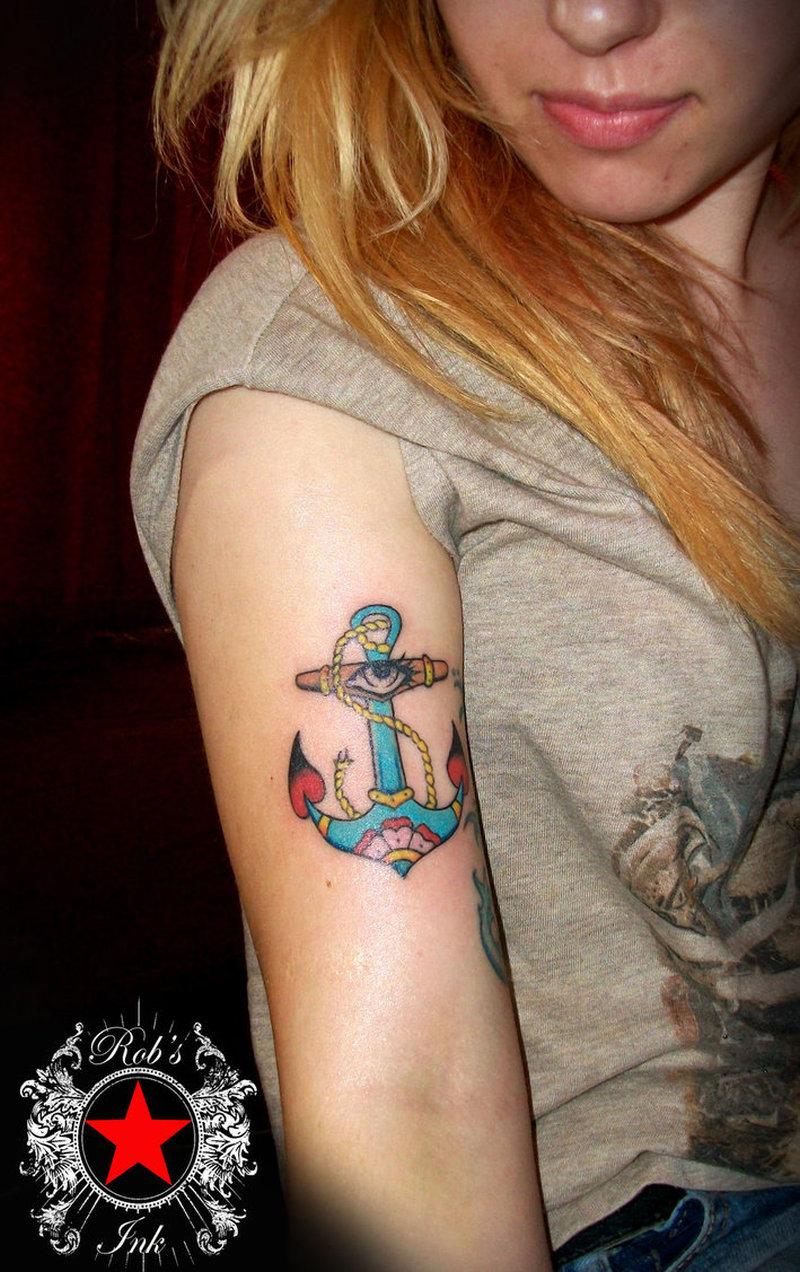 Eye anchor tattoo on arm