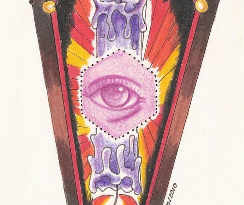 Eye candle coffin tattoo design