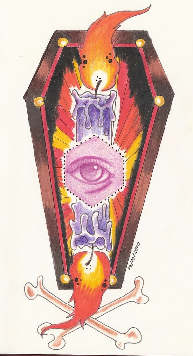 Eye candle coffin tattoo design