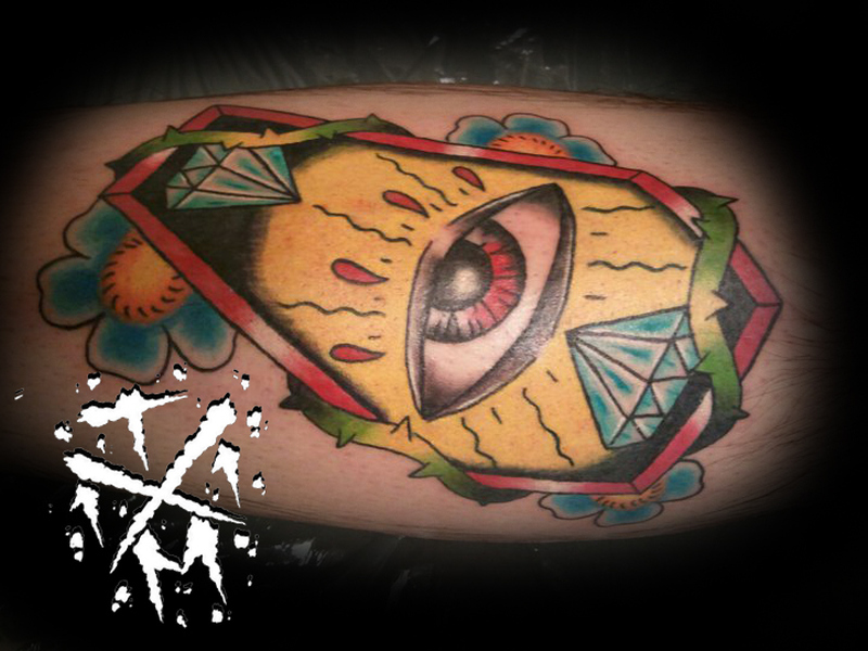 Eye coffin tattoo design