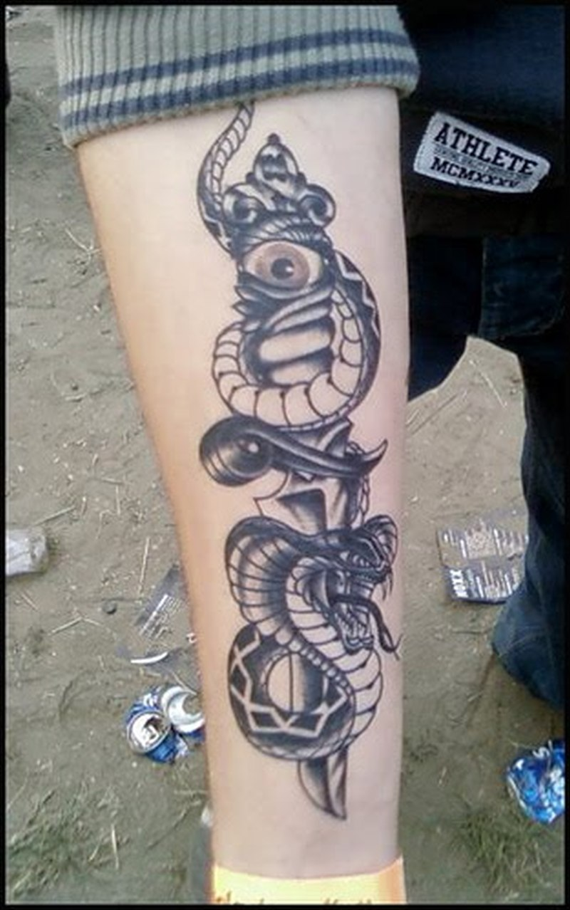 Eye Dagger N Snake Tattoo On Forearm Tattoos Book 65 000 Tattoos